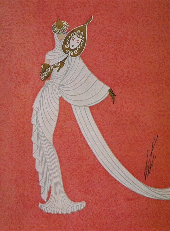 Erté Art Deco Dress Design Vintage Art Paper by Victorianaprint, €7.17
