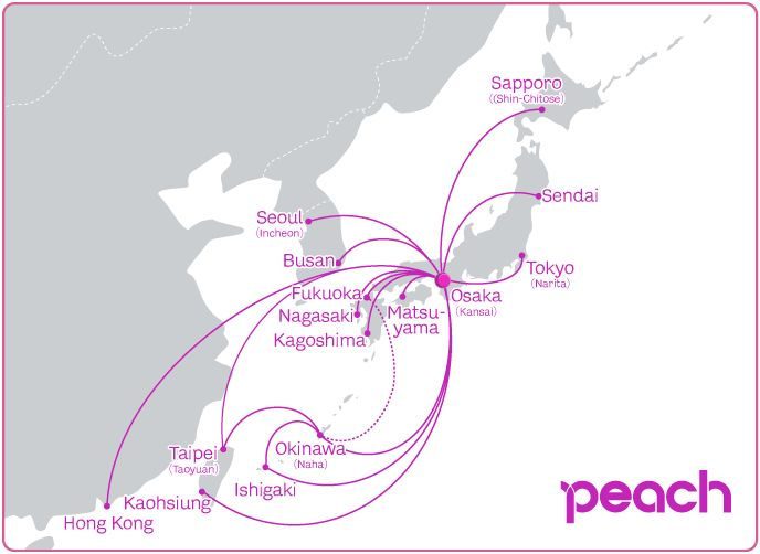 Peach Airlines route map