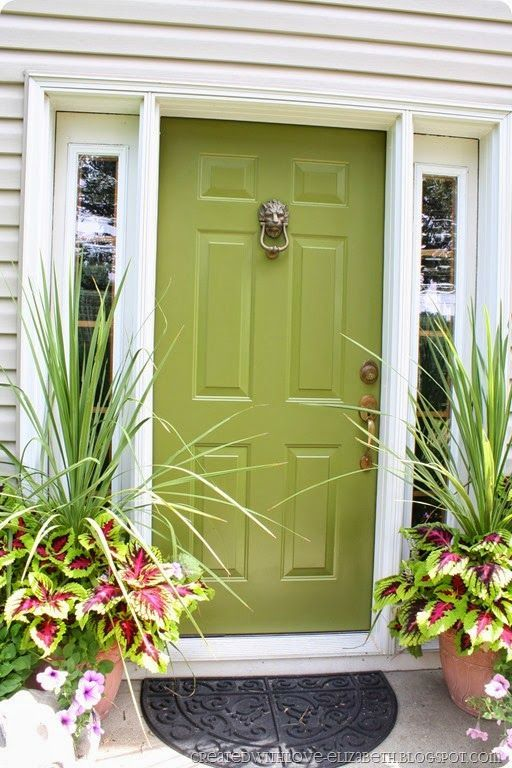 Front Door Painted Benjamin Moore Avocado Painted Front