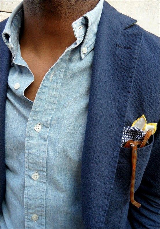 Navy blazer / Denim shirt / Pocket square Combo