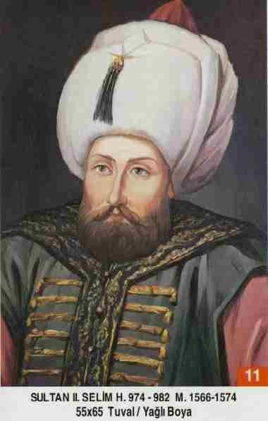 Selim II - Babasi . Kanuni Sultan Süleyman Annesi . Hürrem Sultan Dogumu : 28 Mays 1524 Vefati . 15 Aralik 1574 Saltanati : (1566-1574) (8) sene