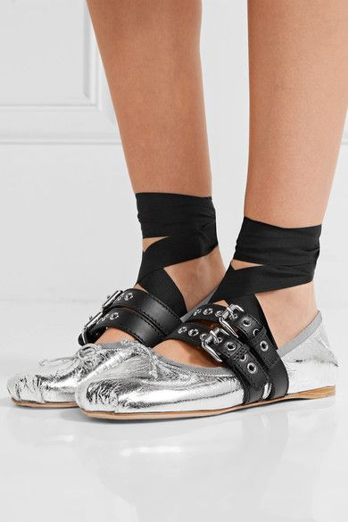 Miu Miu - Lace-up Metallic Leather Ballet Flats - Silver - IT40.5