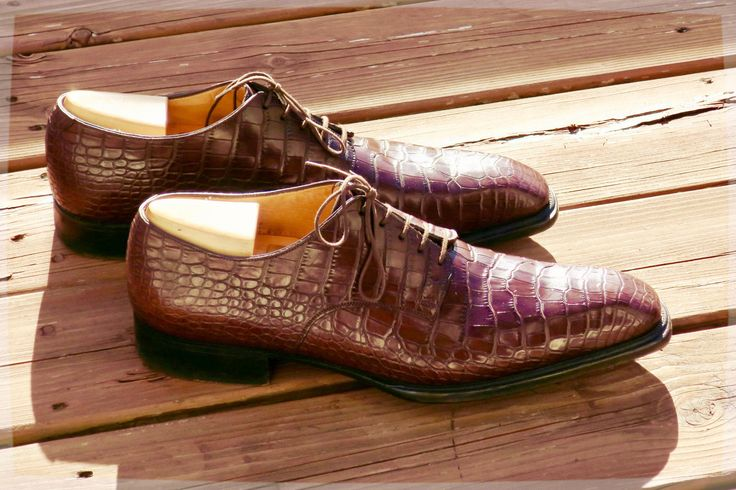 JM Weston Made To Order Beaubourg Oxfords - in Brown Alligator- preowned