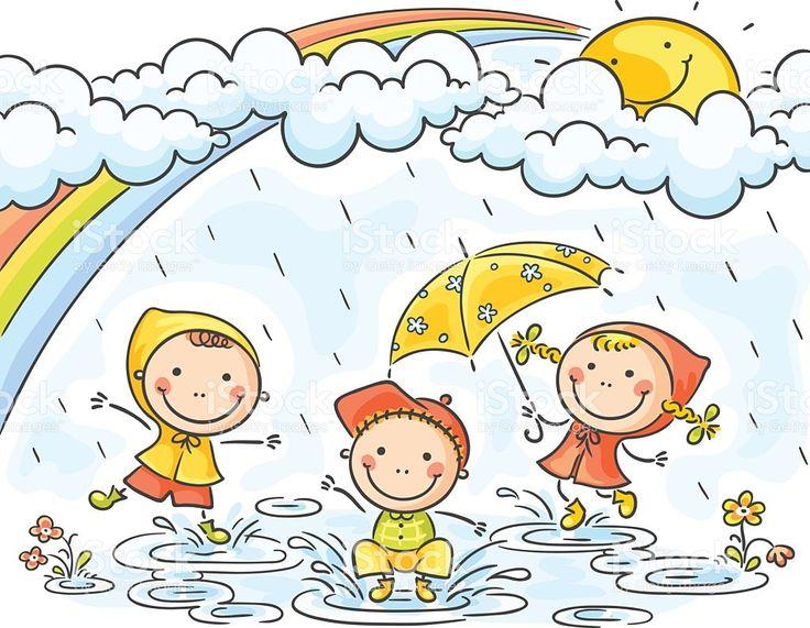 Crianças na chuva download vetor e ilustração royalty-free