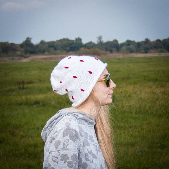 White Polka Slouchy Beanie Hat / Fall Winter Red by RUKAMIshop