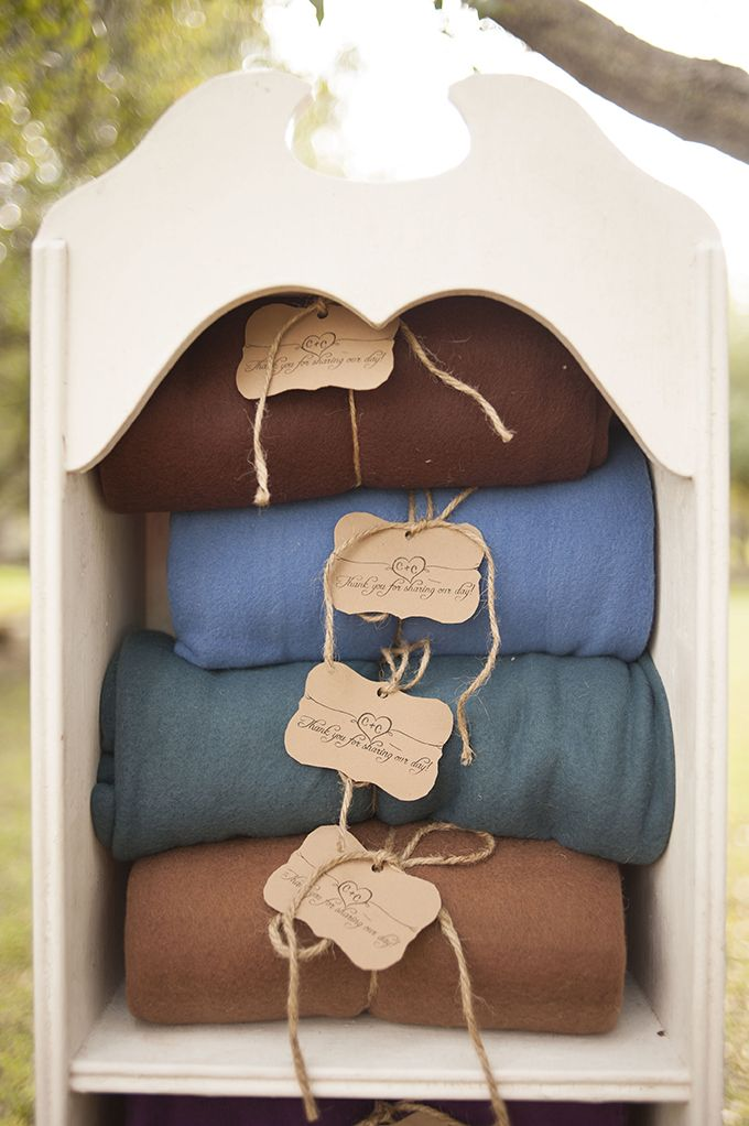 blankets to keep warm - great idea for a cool weather wedding