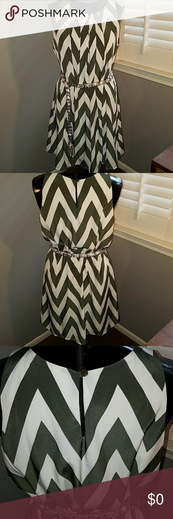 Pink Owl gray & white Chevron Tent trapeze dress L Can be worn with or without a belt, dark gray and white chevron would coordinate well with a turquoise or coral belt and accessories. Loops at waist side for a small belt. (belt & choker not for sale) Fully lined. Excellent condition! Pink Owl Apparel Dresses