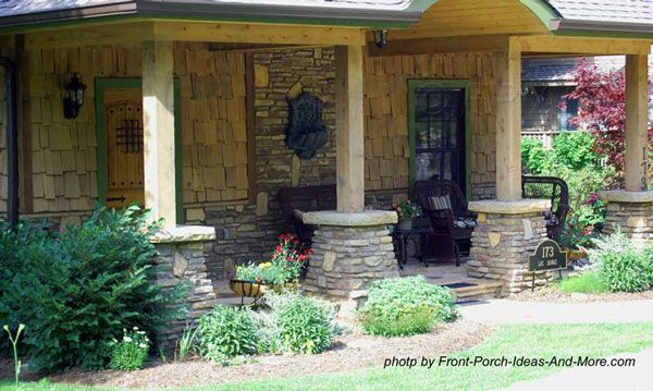 Beautiful front porch columns on stone pedastals. Front-Porch-Ideas-and-More.com  #porch #columns