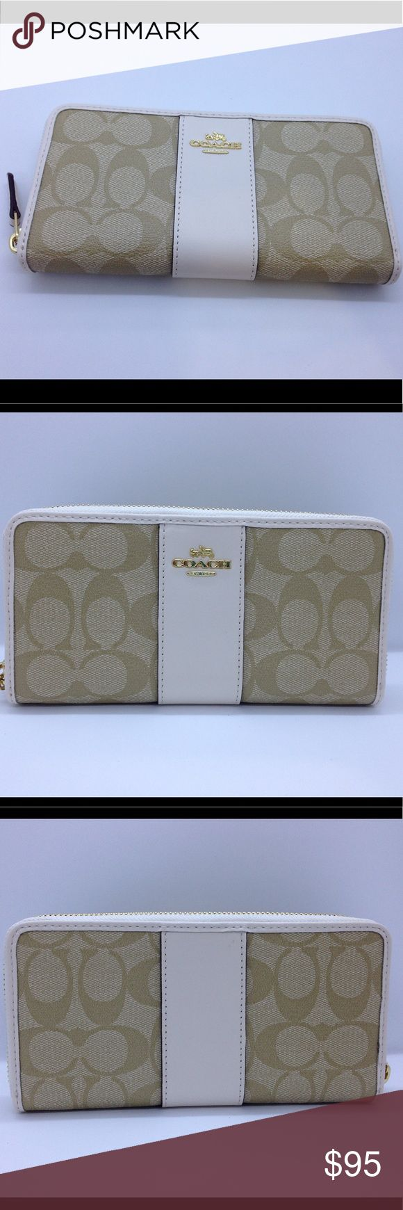"""Coach Signature PVS Leather Accordian Zip Wallet This is a brand new that come from Coach factory store. Signature coated canvas with leather trim. 12 credit card and multifunction pockets. Full length bill compartment, zip coin pocket. Zip around closure. F54630 Light Khaki / Chalk . Approximately : 7 3/4"""" ( L) x 4"""" (H). It comes with gift box , care card and tag price. Coach Bags Wallets"""