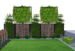Sichtschutzkombinationen Teil 5 - Spalierbäume, Hecke am laufenden Meter, horizontale Verlattung und Bambusbepflanzung