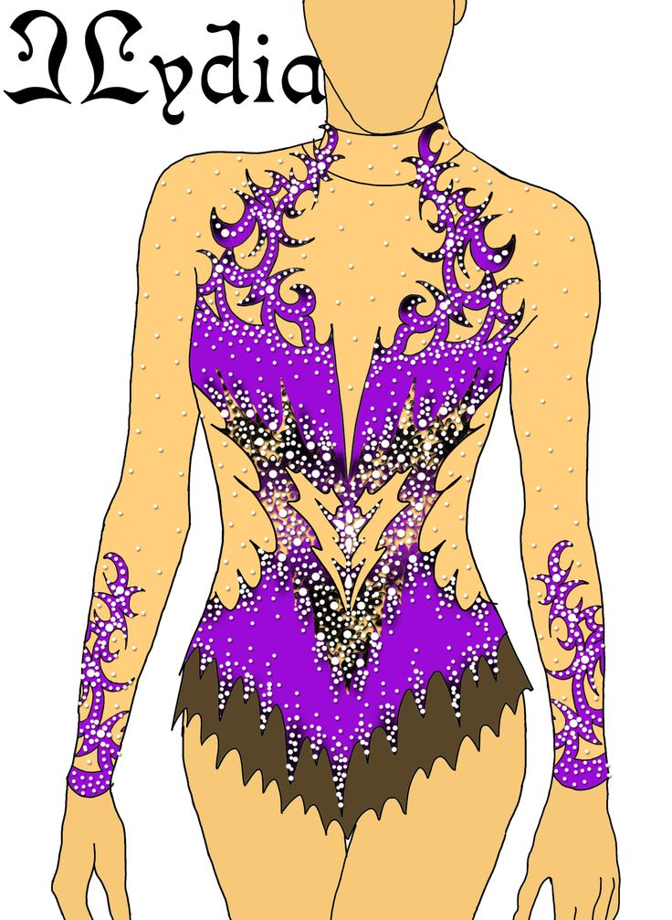 Competition Rhythmic gymnastic leotard design Roxane purple