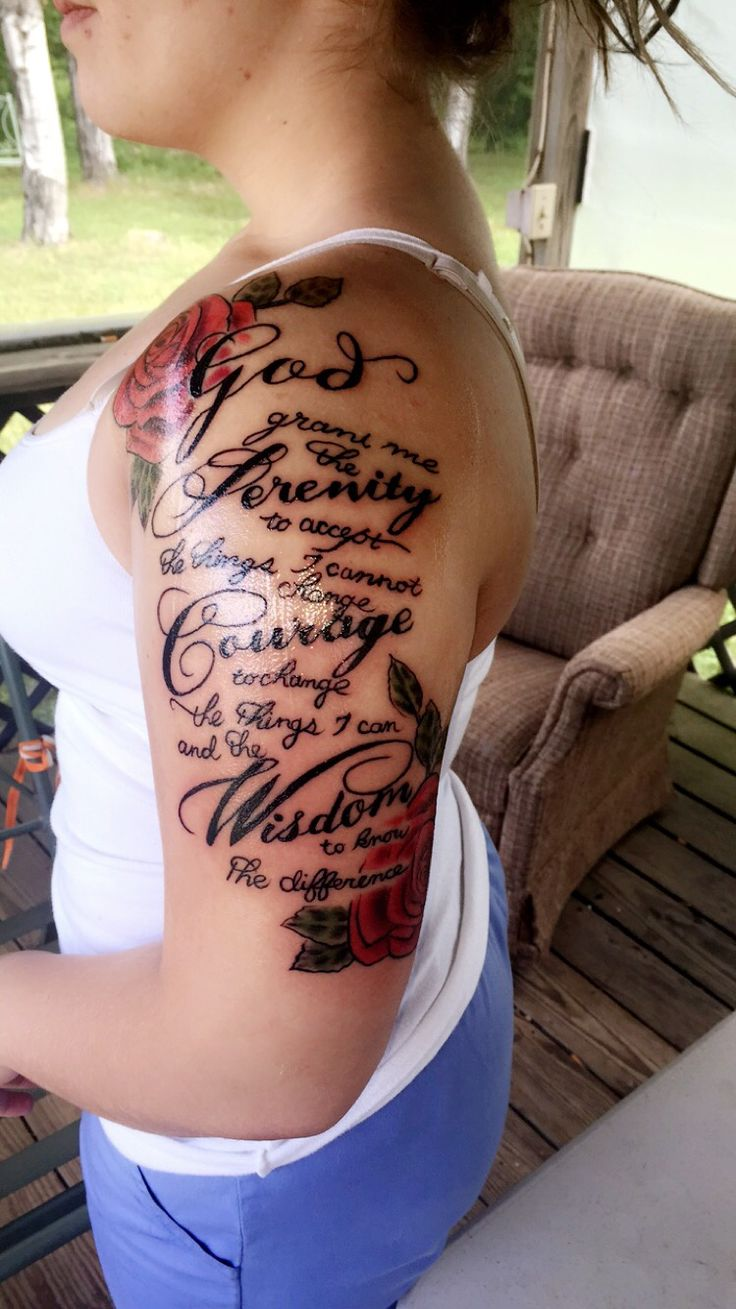 The start to my sleeve. Serenity prayer and roses.                                                                                                                                                      More