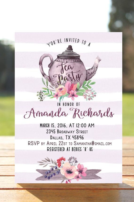free printable camo baby shower invitations templates%0A Tea party bridal shower invitation tea party by MyPrintableArts