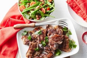 Chargrilled garlic and pepper lamb chops with mixed bean salad