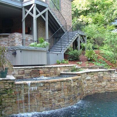 154 best pools images on pinterest for Pool design for sloped yard