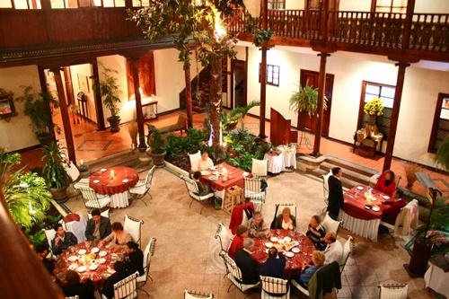 The dining area inside Hotel Santa Lucía in Cuenca, Ecuador. For more about this beautiful boutique hotel, see http://www.captivatingcuenca.com/hotel-santa-lucia-cuenca.html.