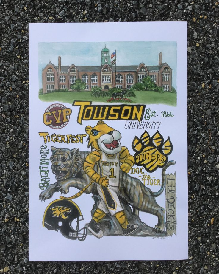 Maryland Map Coordinates%0A Towson University print celebrates the awesome University in Towson   Maryland  This listing is only for the Towson Print