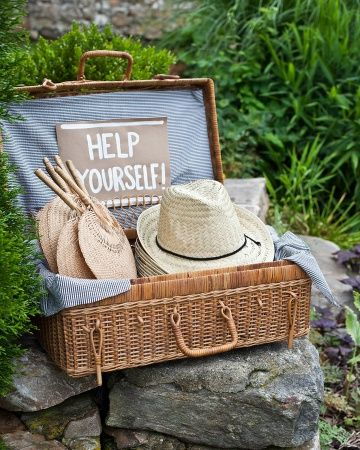 Great idea for an outdoor ceremony -- even better idea if we want to encourage our guests to dress in our style! Long strands of pearls for the ladies, fedoras for the men?
