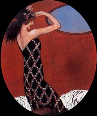 """Xavier Gosé Rovira (1876 - 1915). """"Delante del espejo"""". Témpera, conté sobre cartulina. 31 x 26 cm."""