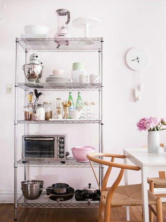 7 Ways To Organize Using Wire Shelving // Metro shelving in the kitchen for extra storage