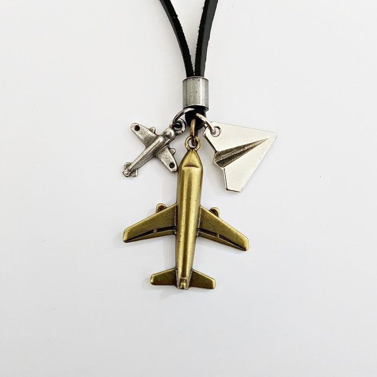 Colar Cordão Couro Masculino Pingente 3 Aviões mens necklace style cocar brasil