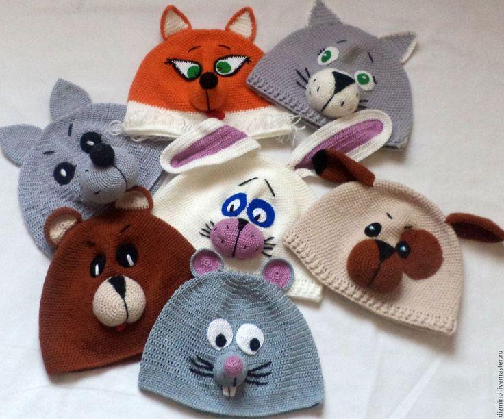 Купить вязаные шапочки маски зверюшки герои сказок - комбинированный, шапка вязаная, шапка детская
