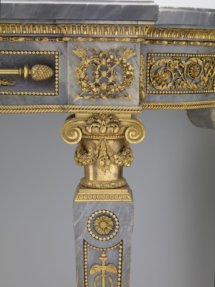 Side table (detail), bleu turquin marble supplied and carved by Jacques Adan Gilt bronze, 1781, by Pierre Gouthière (1732–1813), after a design by François-Joseph Bélanger and Jean-François-Thérèse Chalgrin, The Frick Cillection.
