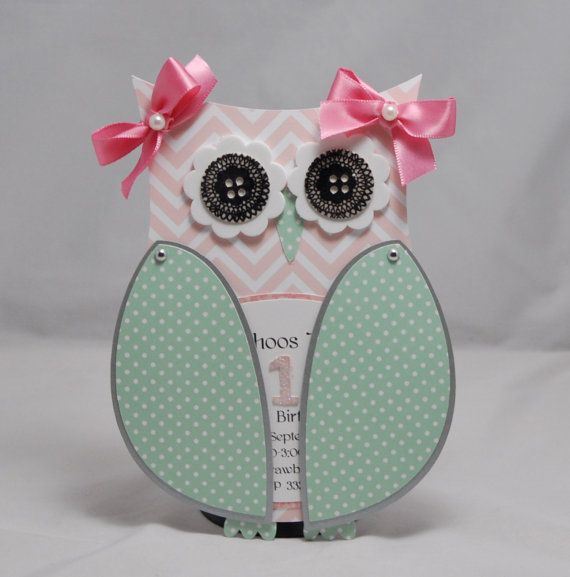 Owl Shaped Invitation- Chevron Shabby Chic- Set of 6 on Etsy, $30.00 I absolutely love this!