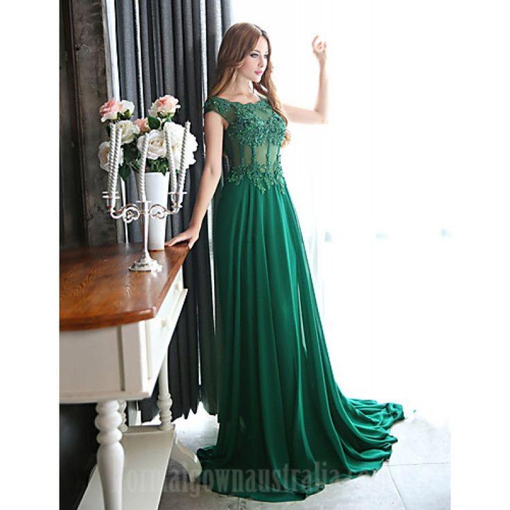 Australia Formal Evening Dress Dark Green Plus Sizes Dresses A-line Scoop Court Train Chiffon Formal Dress Australia #formaldresses #greenformaldresses #dresses