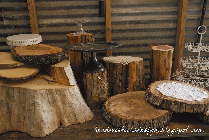 Head Over Heels: Rustic woodsy cupcake table display how to