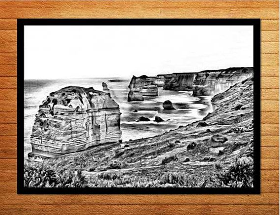 Black and white photo digital download printable, striking wall art for the home or office - 12 Apostles in Victoria, Australia. Made by Gia -$10.00
