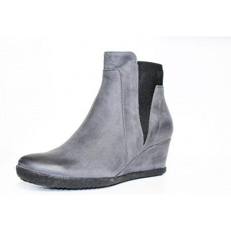 Boot Geox Amelia en cuir anthracite compensé à découvrir www.cardel-chaussures.com