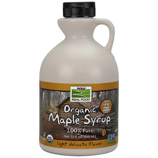 WhatSugar: NOW Real Food® Maple Syrup, Organic Grade A Amber Color. (32oz) Contains 66% sugars. Provides 50 kcal/ 1 Tbsp (15 mL) or 17kcal/ 1 tsp. Nutrition = 16g sugars/ 1 tablespoon (15mL or 20g) or 5g sugars/ 1 teaspoon (5mL or 7g). Non-GMO Project Verified. Certified Organic by QAI. Certified Kosher Parve by Kof-K. Grade A Amber Color Maple Syrup has a lighter, more delicate flavor than Grade A Dark Color Maple Syrup (formerly Grade B). Distrib. by NOW Real Food®, Bloomingdale, IL