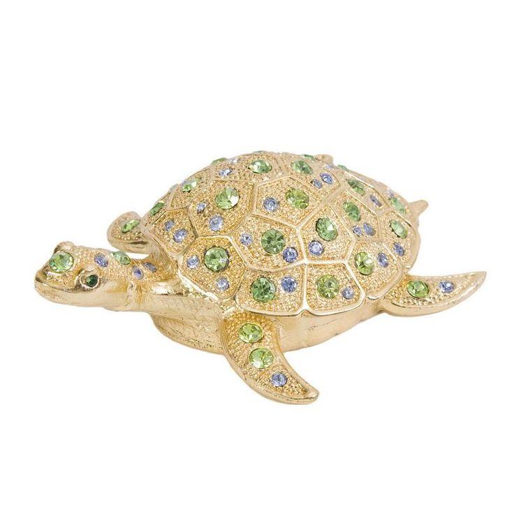 jeweled sea turtle trinket box