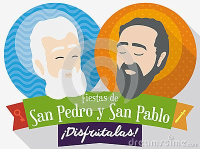 Flat design with round buttons with the image of St. Peter and St. Paul inviting to you to celebrate traditional feast days in Colombia texts written in Spanish.