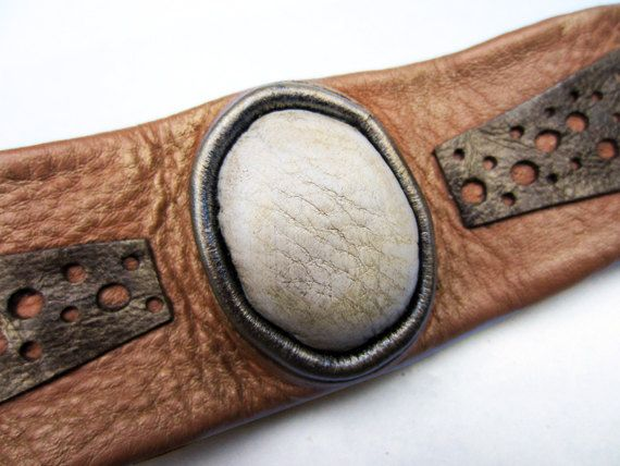 Brown leather bracelet by artispartem on Etsy, $37.00