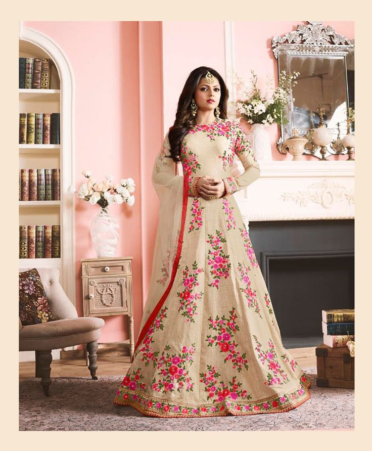 Drashti Dhami Beige Silk Floor Length Anarkali Suit 78527
