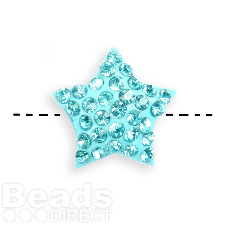 Turquoise Crystal 14mm Star Shamballa Fashion Side Drilled Pk1 £2.48