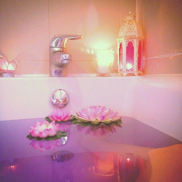 pink flower lily pad purple water bath candles