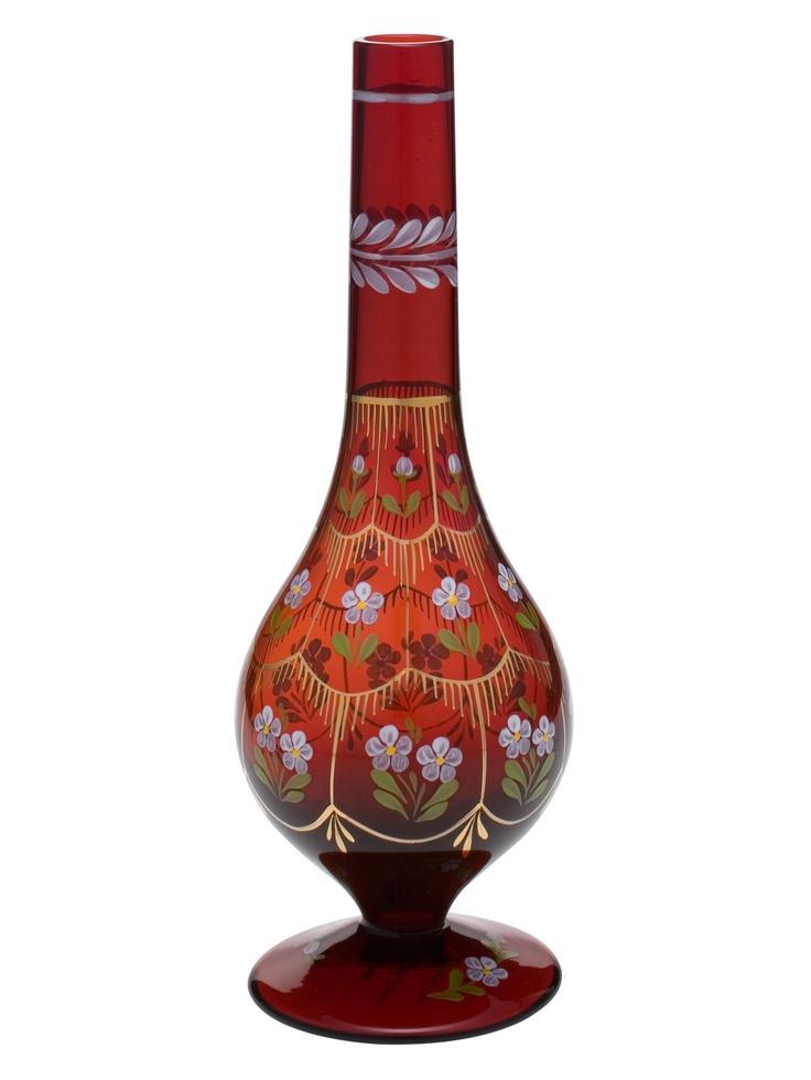 Beykoz Kırmızı Gülabdan / Turkish Glass Art