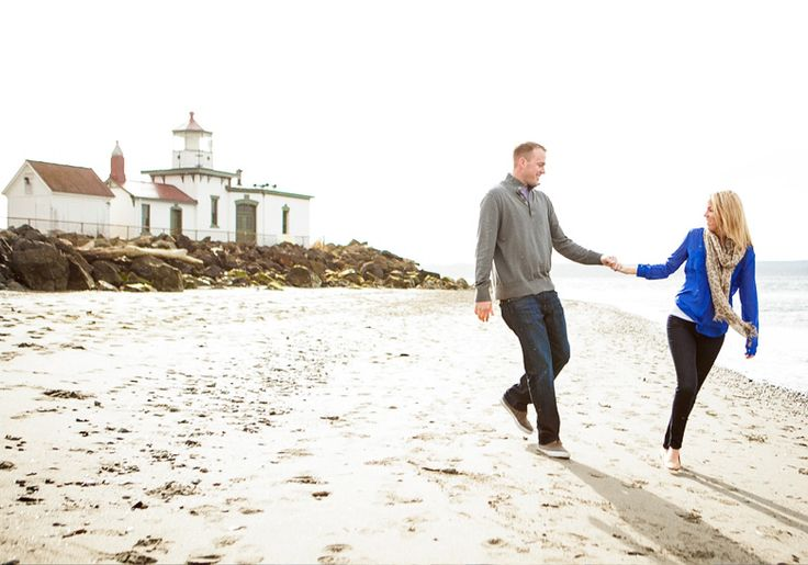 A walk on the beach at Discovery Park.  Seattle engagement session with Clinton James Photography