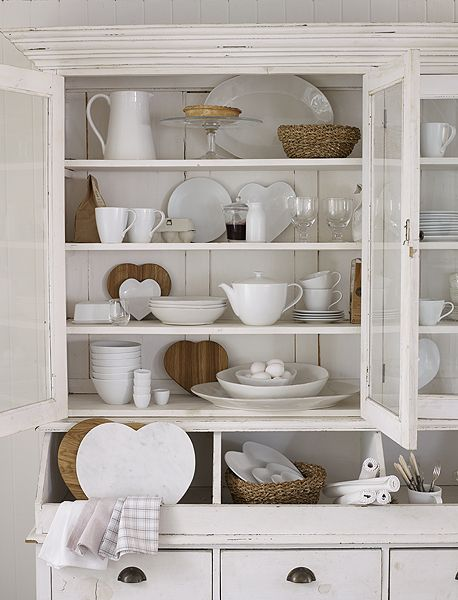 China Cabinet Kitchen Whitewashed Chippy Shabby Chic French Country Rustic…