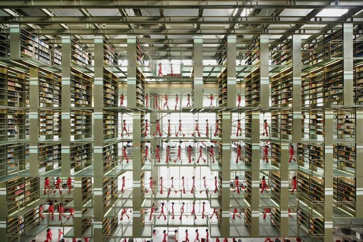 interior of a library/ grid