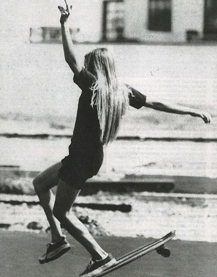 1970's female skateboarders (Peggy Oki, Ellen O'neal, Laura Thornhill, Vicki Vickers, Kerry Cooper).