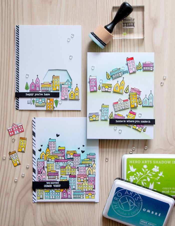 Hero Arts | Building a Town with Mini House Stamps with Yaya Smakula!