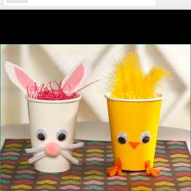 Crafts: Easter Idea, Holiday, Chick Cups, Eastercrafts, Bunny, Easter Crafts, Bunnies, Craft Ideas