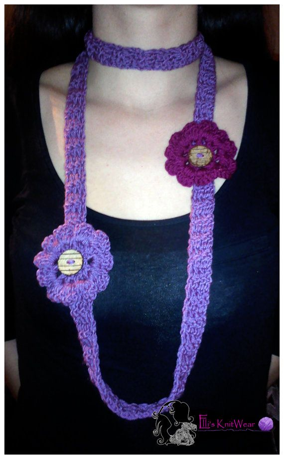 Long Purple Crochet Necklace With Flowers by EllisKnitwearShop