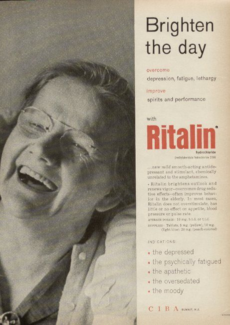 Brighten the day--with Ritalin!  Listen, I've been on Ritalin...if I had run around looking like this, they would have had me committed...