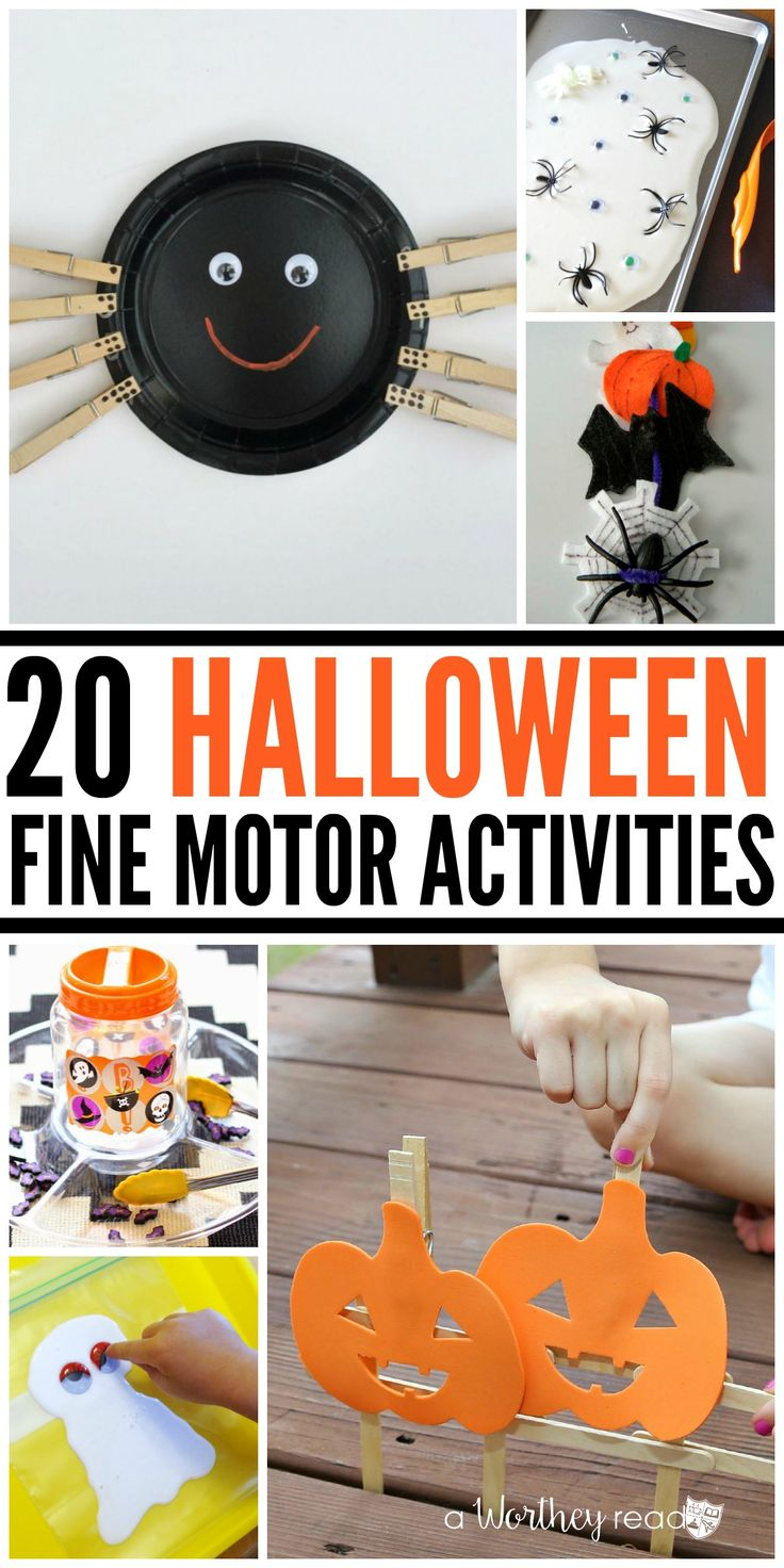 20 Halloween Fine Motor Activities- great ideas for all kids, especially for children with sensory processing disorder or Autism.