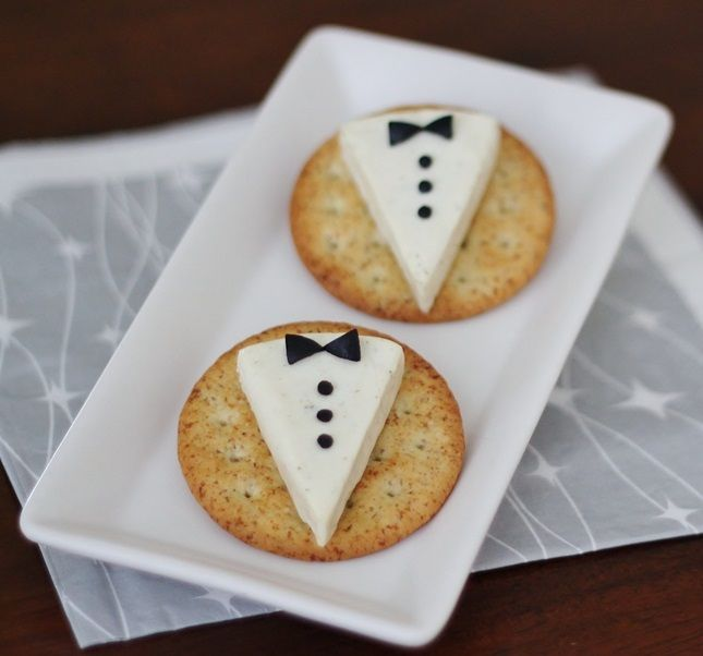 Even your cheese + crackers can be Oscar-ready. Dress them up like these black tie appetizers.